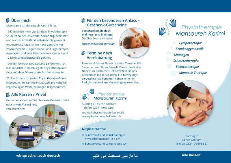 Flyer Physiotherapie Mansoureh Karimi